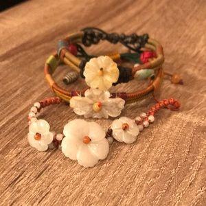 Jade Flower Bracelets Set of 3
